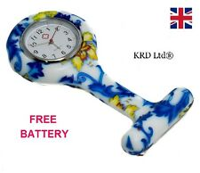 New Fashion Silicone Brooch Tunic Fob Nurse Watch BLUE FLOWER + FREE BATTERY UK