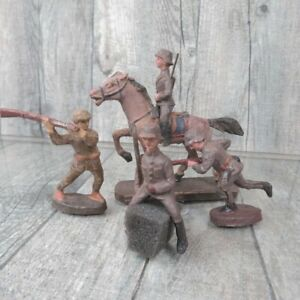 ELASTOLIN  - Massefiguren - 4 tlg. Soldaten-Konvolut und Pferd - #A35859
