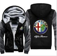 S-6XL Men Casual Alfa Romeo Jacket Zipper Coat Hoodies Warm Hooded Sweater Tops