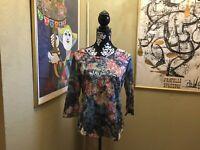 1510 NWT Women's Sara Studio Soft Floral 3/4 Sleeve Top Sz M