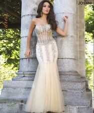 $1500 Jovani 5908 Prom Champagne Pageant Mermaid Wedding Gown Corset Dress 6 4 S