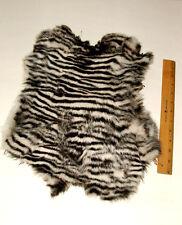 Rabbit Pelt Fur Pelt Hide ZEBRA stencil dyed Large