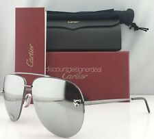 Cartier Sunglasses Panthere Aviator Gray Mirror Lenses / Silver Metal ESW00217