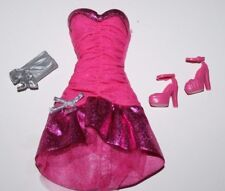 BARBIE DOLL  2 TONED PINK DRESS WITH SHOES & PURSE