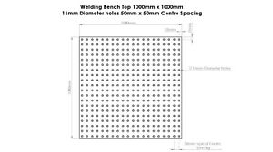 Welding Bench Top / Table / Fixture / Jig DXF File 1000mm x 1000mm 16mm Holes