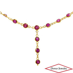 3.55ct Ruby 18K Gold Lovely Delicate Necklace NR