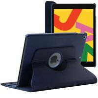 Coque Apple iPad 10.2 (2019) Protection Etui Rotatif 360 PU Cuir, Bleu Foncé