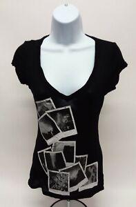 Women's Small Nollie Short Sleeve Basic Solid Black 100% Viscose V-Neck T-Shirt