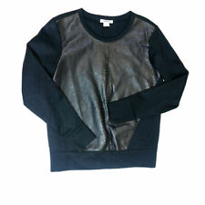 Helmut Lang Vegan Faux Leather Python Snake Embossed Pullover Black Sweater S