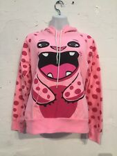 Love Pink Animal Pullover Hoodie Sweater With Ears Monster L Large Junior Top