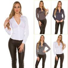 Koucla BLUSE Streifen elegant Business klassisch Langarm Hemd Stretch tailliert