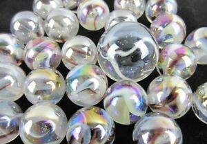 25 Glass Marbles POLAR BEAR Translucent Brown/White Game Pack Shooter Swirl