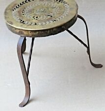 Vtg table 3 iron legs Brass top Customized Made up Bath Sitting? Display decor ?