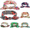 ALS_ KQ_ Baby Girls' Colorful Floral Pattern Rabbit Ear Wide Headband Hair Band