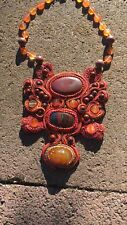 Red And Orange Statement Necklace Soutache Bead Embroidery Agate Carnelian
