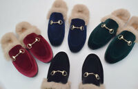 Mens Slip On Horsebit Backless Slipper Velvet Rabbit Fur Loafer Shoes US5.5-11.5