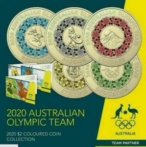 2020 Australia TOKYO OLYMPIC GAMES $2 colour  Coin 5-COIN SET IN FOLDER