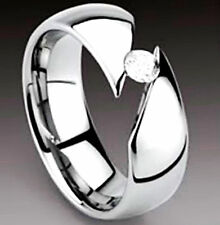 Men's TITANIUM Highly Polished TENSION RING with CZ, size 12 - NEW - in Gift Box