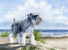 MINIATURE SCHNAUZER Art Print Beach DOG Watercolor 8 x 10 Signed by Artist DJR