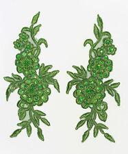 2 x Fatto a mano Pizzo Venise Ricamato fiori Finitura Applique Motivi Verde #2