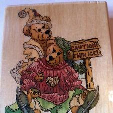 Boyds Bears Iceskating Simone & Bailey Rubber Stamp Uptown Helping Hand Teddy