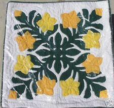 NWT Hand-Quilt Yellow-Orange Plumeria 18 x 18-Inch Zippered Pillow Case