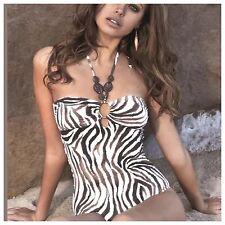Melissa Odabash Zebra Print con cuentas Traje de baño traje de diseñador. natación Talla 10