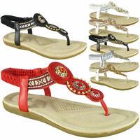 Ladies Flat Elastic Strap Bling Comfy Sandals Womens Summer Peeptoe Shoes Sizes
