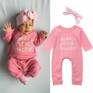 Newborn Baby Girl Bowknot Romper Bodysuit Jumpsuit Headband Outfits Clothes UK