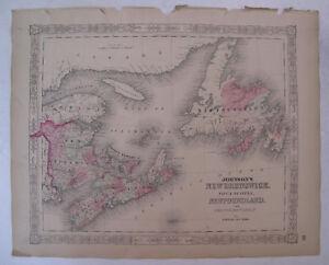 Hand Colored Map Johnson's Atlas New Brunswick Nova Scotia Newfoundland 1863