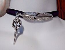 SILVER FEATHER & CROW SKULL CHOKER black vinyl faux leather bird gothic raven O4