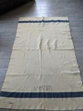 vintage Wwii wool blanket Us Navy blue striped Wwii miltiary army 72x45