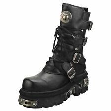 New Rock Reactor Half Boots Unisex Black Leather Platform Boots