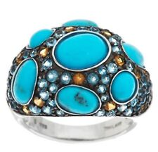 NEW Sterling Silver Turquoise Citrine Blue Topaz Ring-Size 9