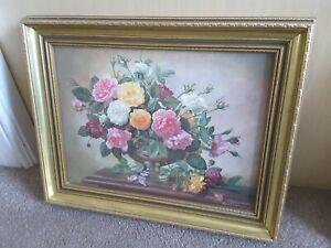 "Vintage Albert Williams Flower Vase picture  In Gold Frame 20"" x 15.5"""