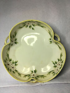 Nippon Shamrock shaped candy dish w/ handle Handpainted White Roses