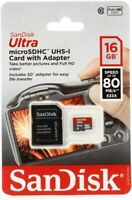 NEW Genuine 16GB SanDisk Ultra MicroSDHC UHS-I Card With Adapter Class 10 48MB/s