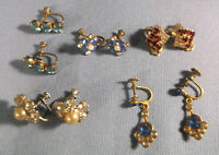 Vtg Antique Earring Lot Small Dainty Rhinestones  Blues Red Clear  One Sterling
