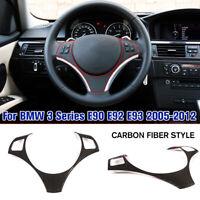 Carbon Fiber Style Steering Wheel Trim Cover For BMW 3 Series E90 E92 E93 05-12