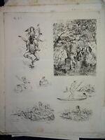 Louis SAHIB (1847-1919) 7 EAUX FORTES ORIGINALES ANIMEES IMPRESSIONNISME 1873