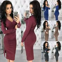 Women Ladies Long Sleeve V Neck Stretch Bodycon Ribbed Knit Pencil Midi Dress