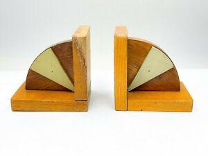 Vintage Art Deco Wooden Bookends - D126