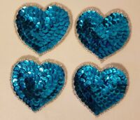 "Lot 4 Vintage 2"" Small Turquoise Heart Beaded Sequined Appliques Sew On Crafts"