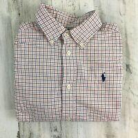 Ralph Lauren Polo Boys Button Down Dress Shirt Orange Blue Plaid Oxford Sz 6