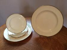 Wedgwood FIVE bone china plates, ivory with gold trim ca. 1930's