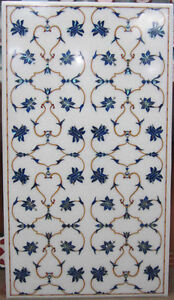 """48"""" x 24"""" Center Dining Table Top Marble Lapis Inlay Work Home Decor"""