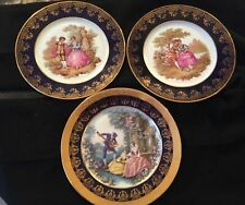 Limoges France Rehausse Main Collector Plate Blue Gold Courting Couple Fragonard
