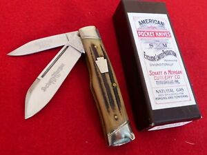 "Schatt & Morgan USA 042240 winterbottom stag 3-5/8"" Gunstock knife MINT/BOX ld"