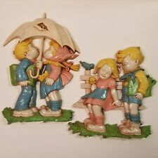 Pair of Vintage 1970's Homco Children Nursery Wall Hanging Plaque Home Decor
