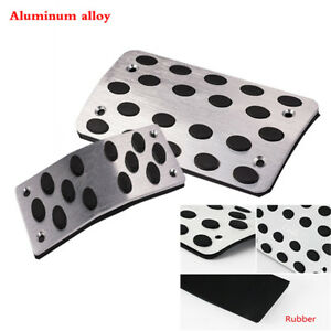 2PCS AT Automatic Transmission Pedals Pads Rubber Non-Slip Covers Silver Black